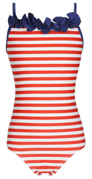 M&S frill neck striped swimsuit