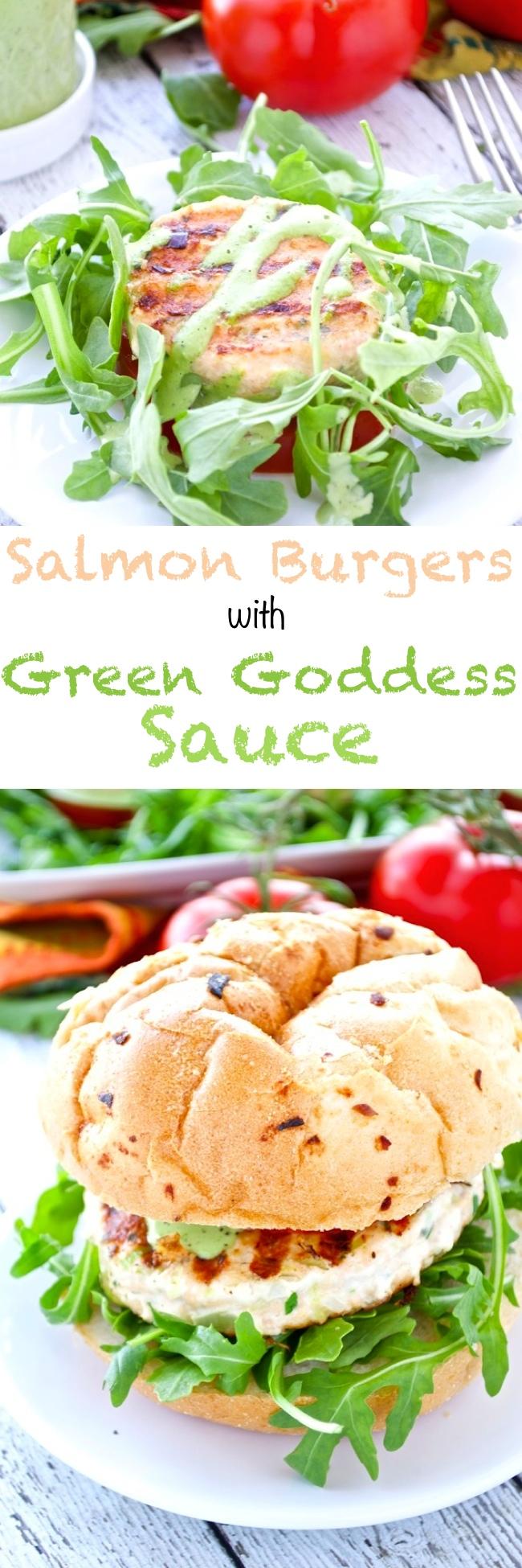 Salmon Burgers with Green Goddess Sauce - Fashionable Foods