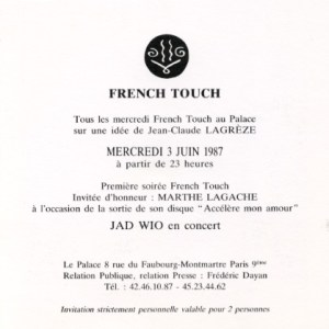 Flyer de la French Touch 1987
