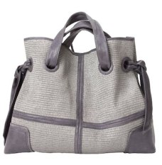 KOOBA rose bag in grey leather + raffia FashionDailyMag brigitte segura