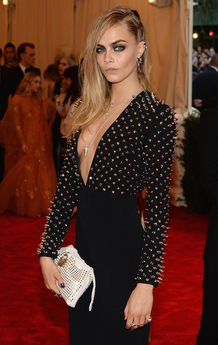 CARA DELEVINGNE wearing burberry at Met Gala | FashionDailyMag