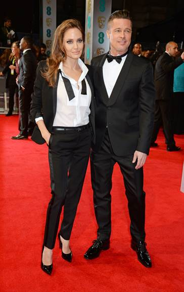 brad pitt angelina jolie BAFTA in valentino FashionDailyMag