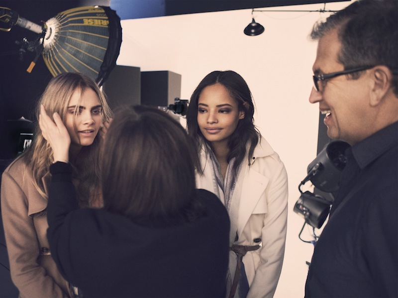 Cara Delevingne and Malaika Firth behind the scenes on the Burberry Autumn_Winter 2014 campaign (1)
