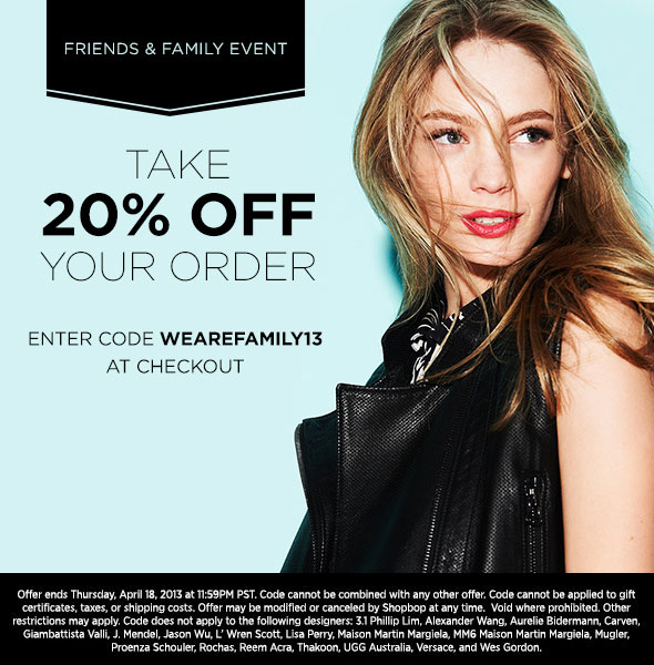 Shopbop Friends and Family Sale 2013