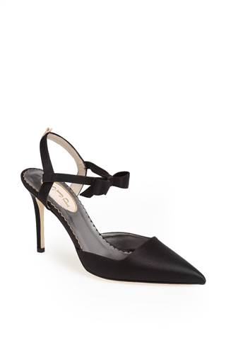 "The black satin ""Pola"" heel ($365)"