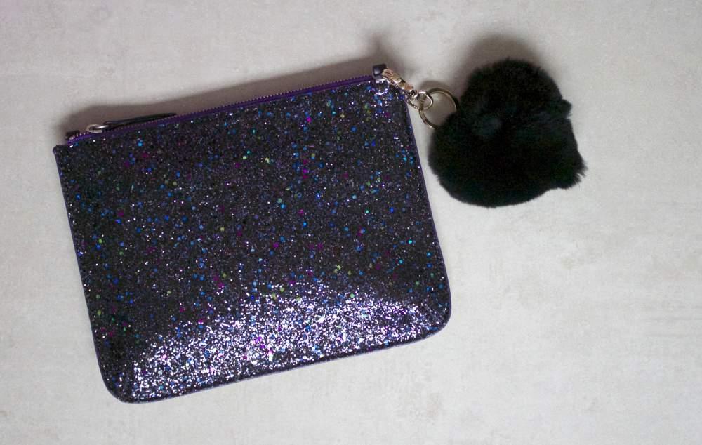 boden glitter clutch bag with fur heart charm