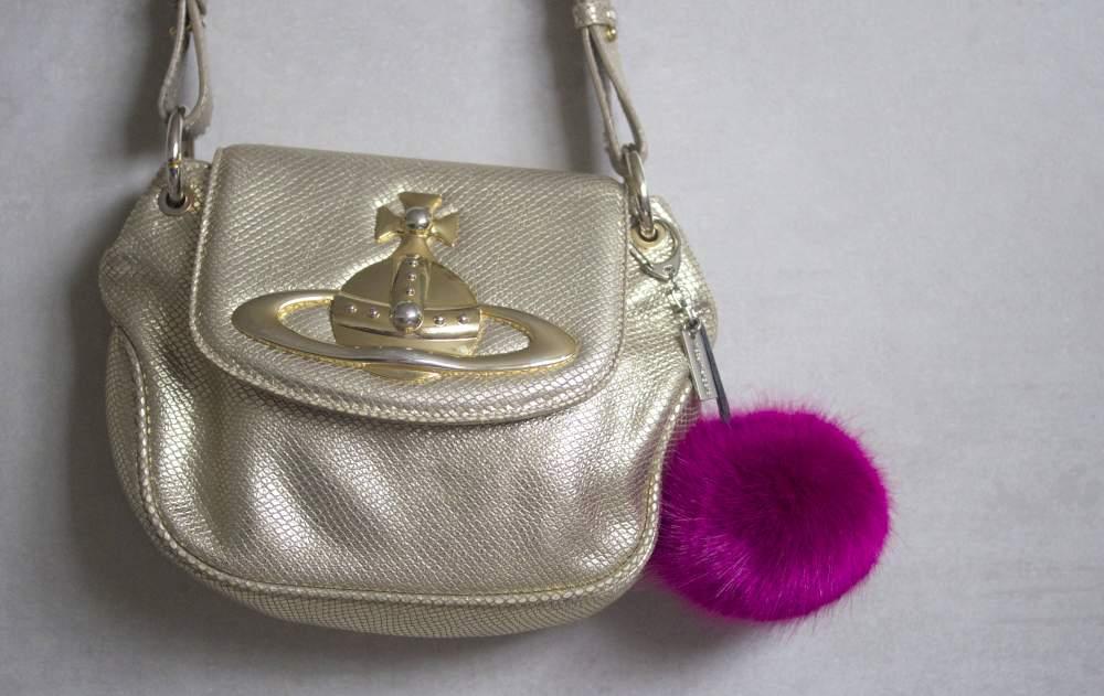 vivienne westwood gold shoulder bag with fur handbag charm helen moore bag charm keyring cool