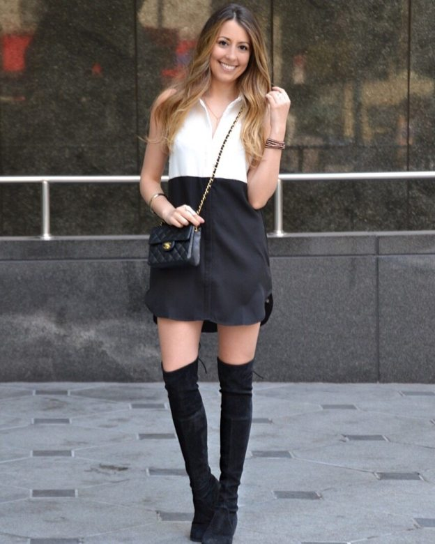 Little shirtdress & over the knee boots