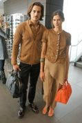 Khaki browns and tans for his and her travelling with perforated leather. #armani #fashion #fashionista411 #f411