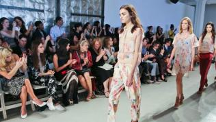 Designer Rebecca Taylor's line displays delicate floral in pastel colors with sheer and opaque panels.