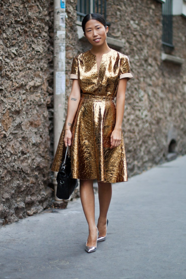 gold crinkle dress