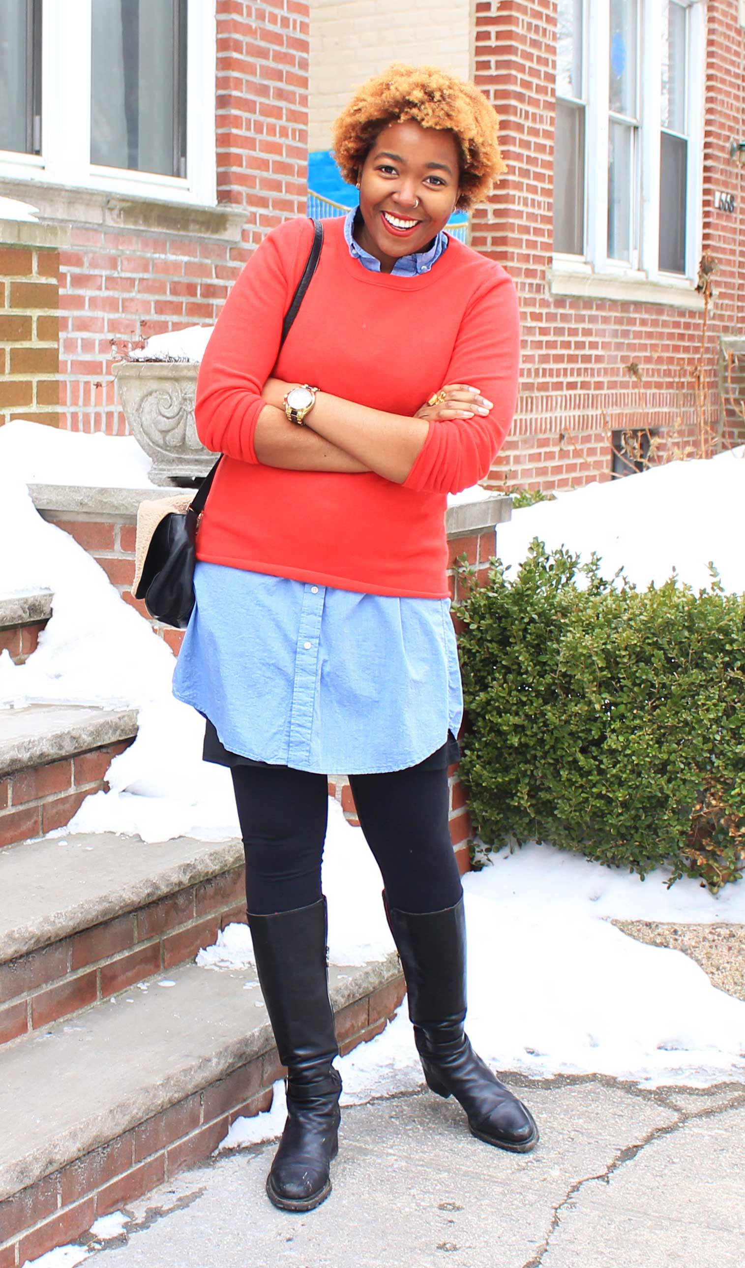 Red cashmere J.Crew sweater, blue chambray Gitman Bros dress, Lululemon leggings, Clare Vivier, Donald J. Pliner, Saint Laurent, Kate Spade