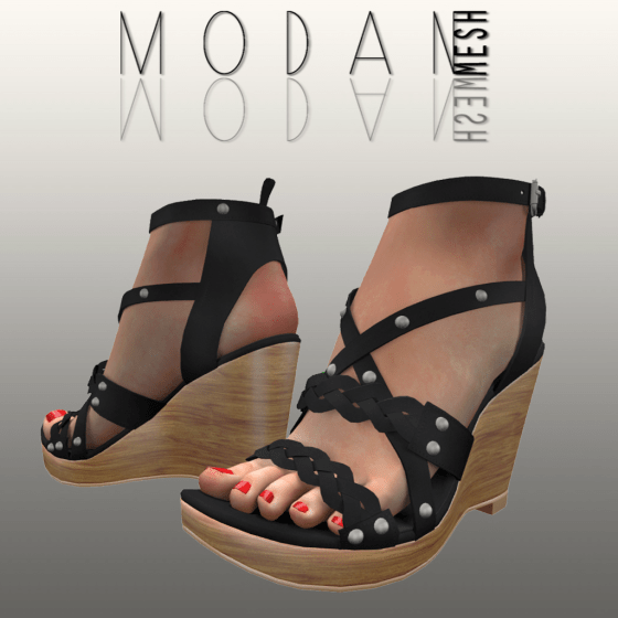 __M.O.D.A.N.M.E.S.H__ Braided Wedge Sandal Black
