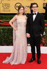 Andy Samberg and Joanna Newsom in Zac Posen with jewels by Irene Neuwirth
