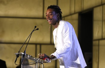NEW YORK, NY - SEPTEMBER 10: Wiz Khalifa speaks onstage during The Daily Front Row's Third Annual Fashion Media Awards at the Park Hyatt New York on September 10, 2015 in New York City. (Photo by John Parra/Getty Images for The Daily Front Row)