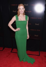 """NEW YORK, NY - OCTOBER 14: Actress Jessica Chastain attends """"Crimson Peak"""" New York Premiere at AMC Loews Lincoln Square on October 14, 2015 in New York City. (Photo by Grant Lamos IV/Getty Images)"""