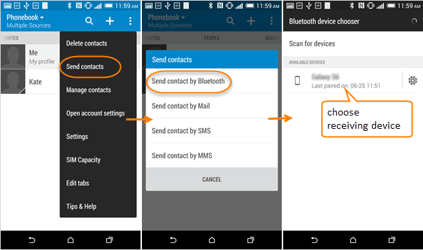 Transfer contacts Bluetooth Samsung galaxy S7 Edge