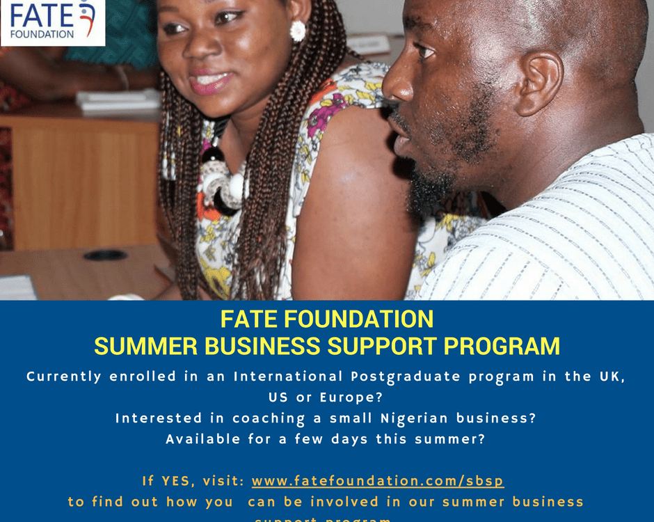 FATE Summer Business Support Program Flyer