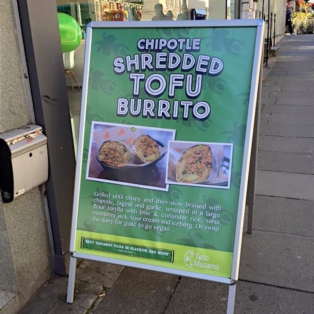 shredded tofu burrito