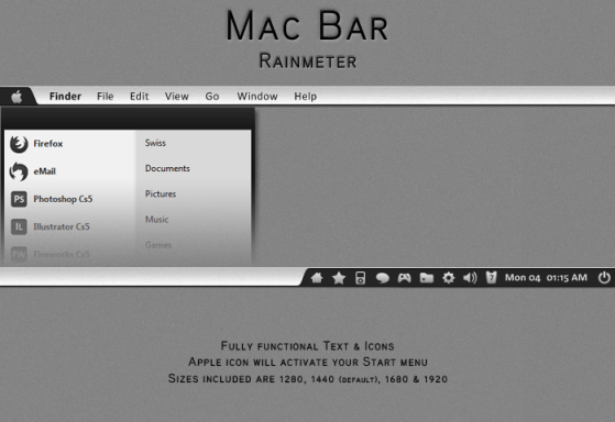 mac bar by ominousshadows d3d6iak Apple Inspired Rainmeter Skins & Themes