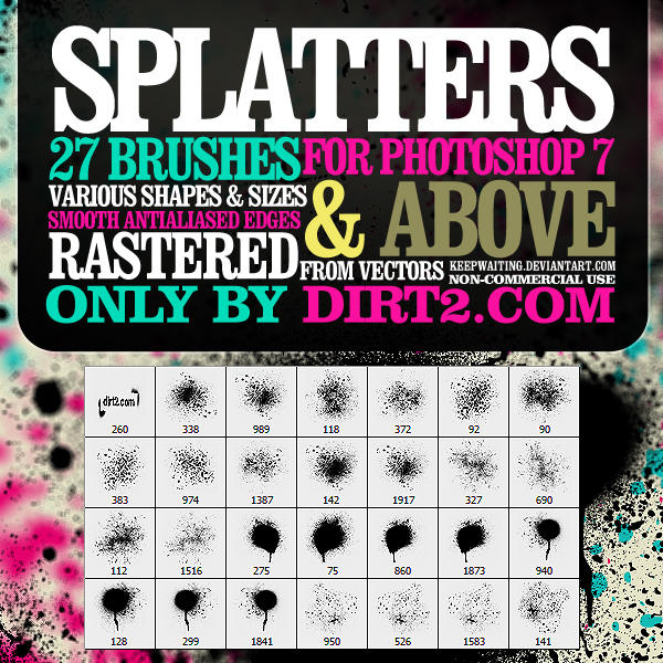 Spraypaint Splatter Brushes by KeepWaiting 10 Awesome Grunge Photoshop Brushes | Download