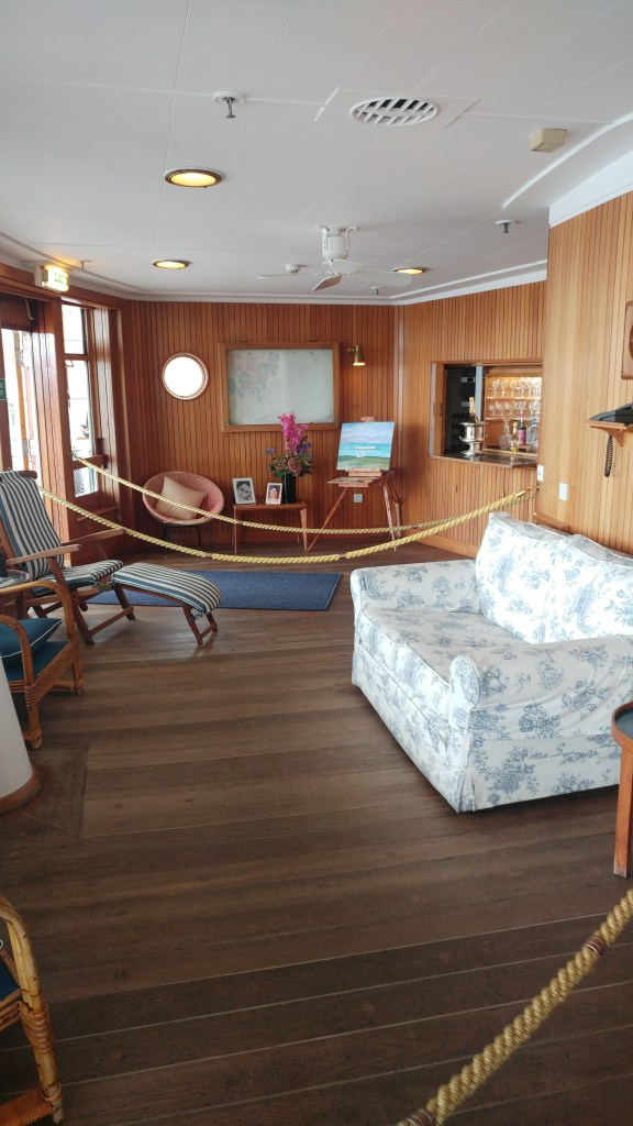 The Lounge where the Queen often unwound or enjoyed breakfast at the overlooking desk - The Royal Yacht Britannia