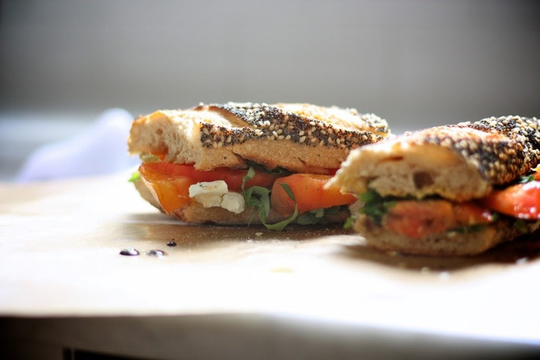 Heirloom Tomato, Basil and Arugula Sandwich | Feasting At Home