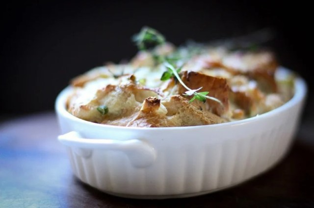 Savory Leek Bread Pudding with Gruyere and Thyme | www.feastingathome.com