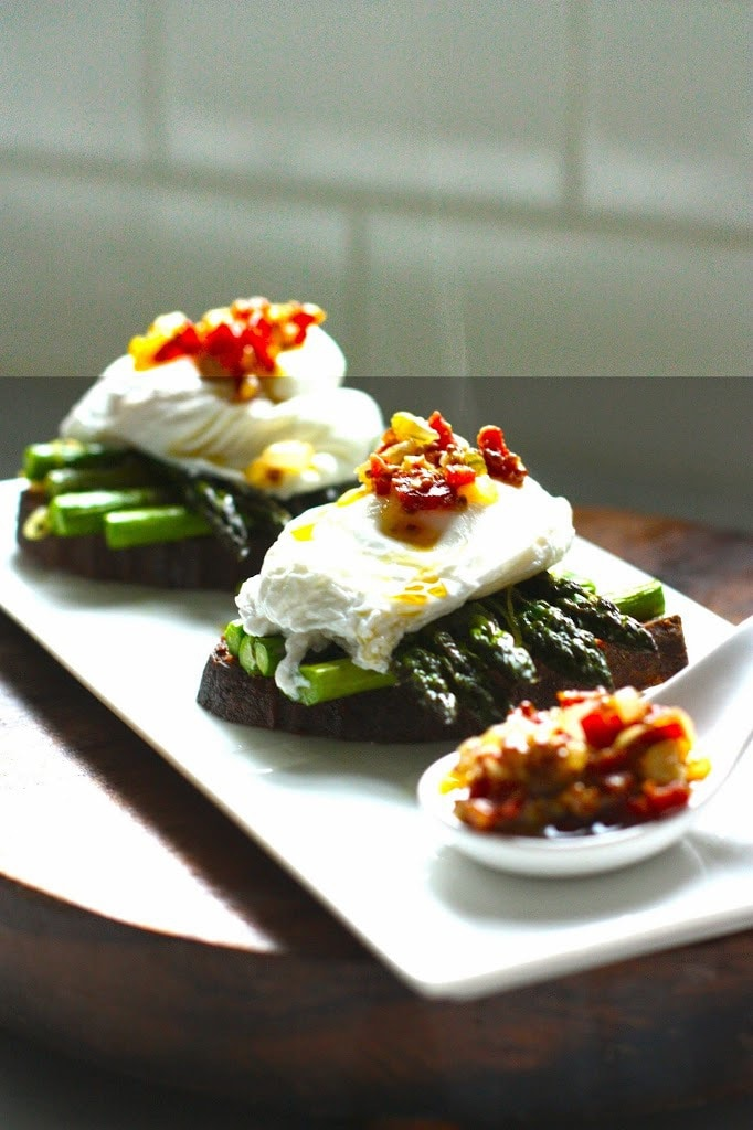 simple breakfast- Roasted asparagus on toast with poached eggs and a ...