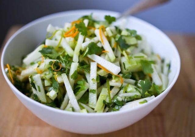 Kohlrabi Salad with cilantro lime dressing. Vegan, GF | www.feastingathome.com