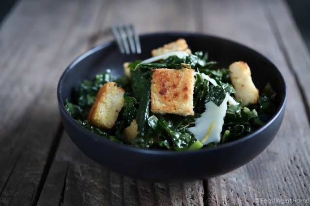 A simple healthy recipe for Kale Caesar Salad with Millet Croutons. The croutons are gluten free and fun to make! | www.feastingathome.com