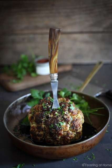 A tasty recipe for Whole Roasted Cauliflower with Tahini Sauce and Sumac...or try my  Black Tahini Sauce for a ghoulish halloween recipe.