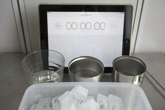 100mlの水に氷を4つ入れます