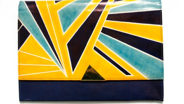 Dazzle indigo, yellow and blue chain clutch copy