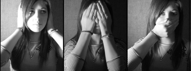 women - campus rape, silencing, hear no evil see no evil (Ally Aubry, CC BY)
