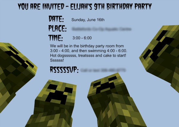 Minecraft printable invitations