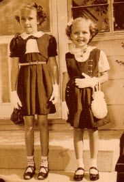Lynne's big sister, Diane, and I in their handmade Easter outfits, circa 1951