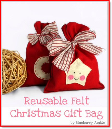 reusable felt Christmas gift bag