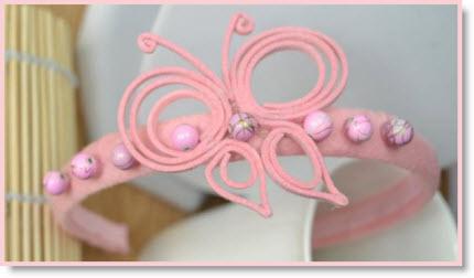 Pink Butterfly Headband