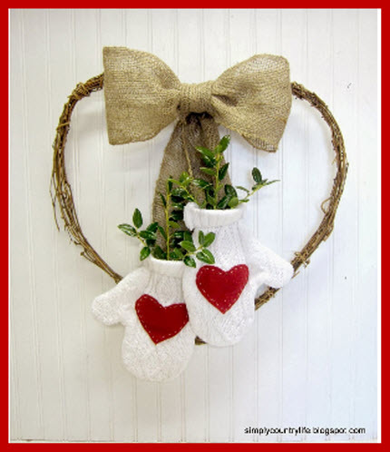 Recycled sweater wreath