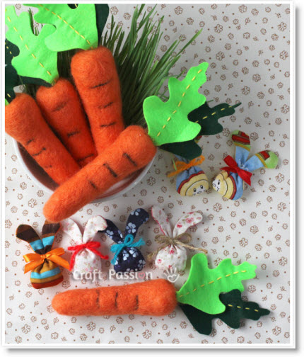 needle felted carrots