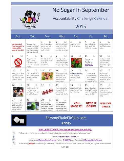 No Sugar In September Challenge Accountability Calendar