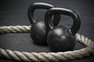 kettlebells and battle ropes