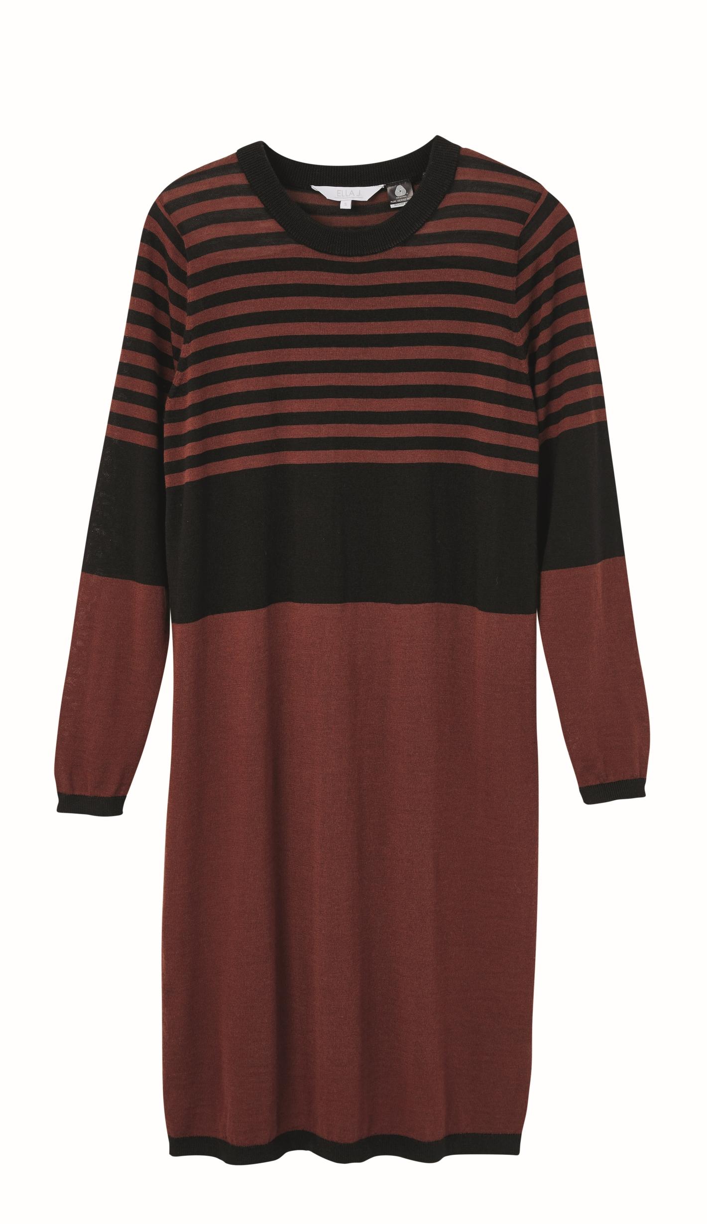 Ella J Verigated Stripe Merino Dress $109.99