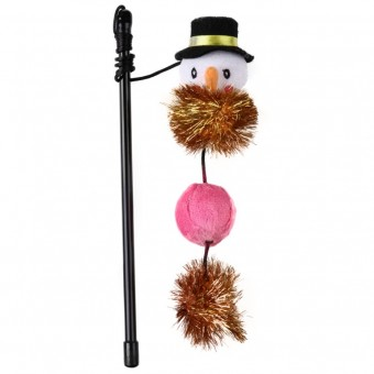 Snowman Pom-Pom Sparkle Wand Cat Toy