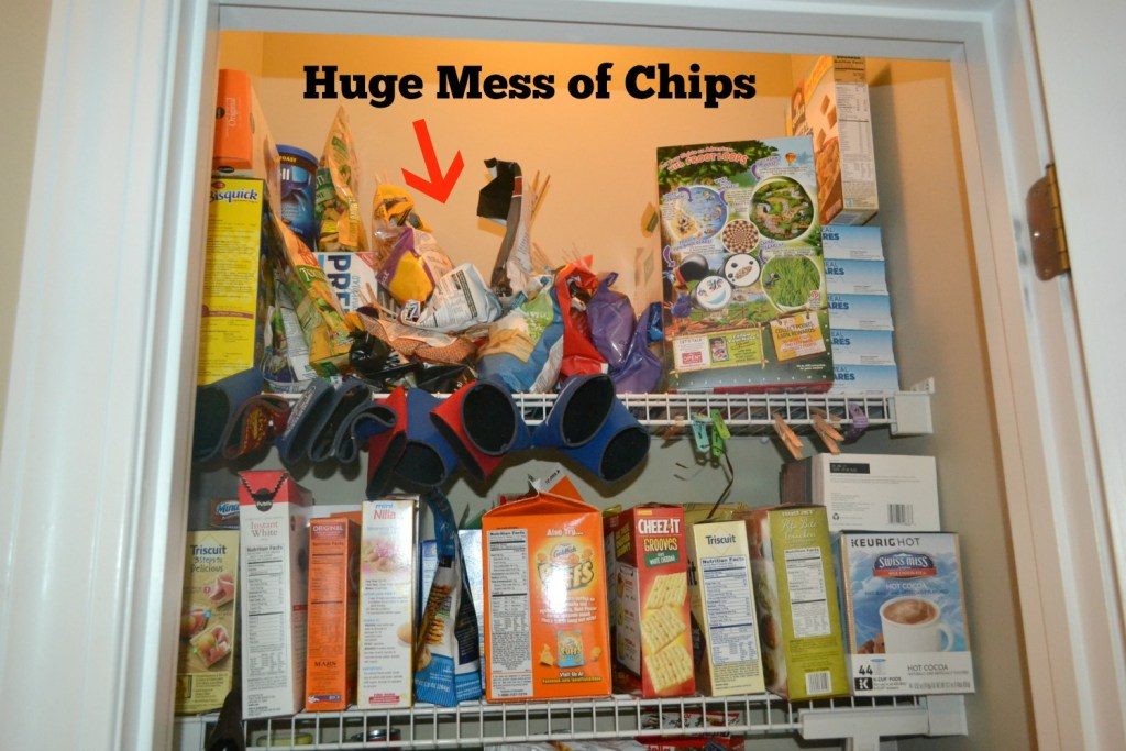 A new way to organize bags of chips in the pantry. Get them off the shelf with this easy way to store and get into the bags. You don't need to remove chips and put them in any fancy canisters.