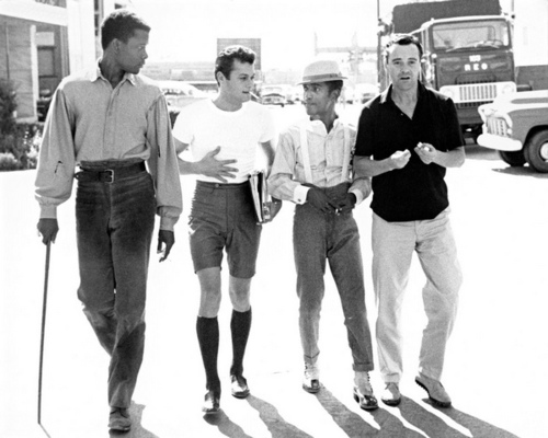 Sidney Poitier, Tony Curtis, Sammy Davis Jr. and Jack Lemmon on the lot, 1950s. Photo by Phil Stern.