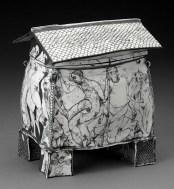 "Edward Eberle, ""October's House"" 1996, porcelain, terra sigillata, 7.25 x 6.5 x 4.25""."