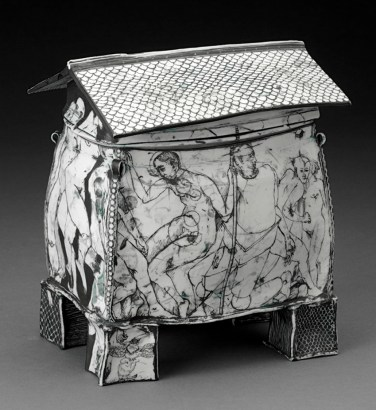 "Edward Eberle, ""October's House"" 1996, porcelain, terra sigillata, 7.25 x 6.5 x 4.25"". photo: John Polak (Pennington)"