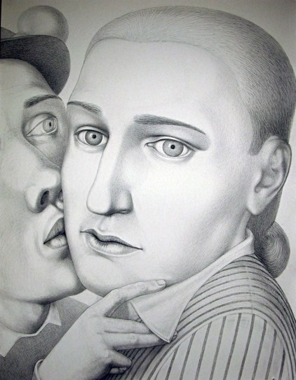 "Sergei Isupov, ""During 18th Century"" 2009, charcoal on paper, 60 x 46.5""."